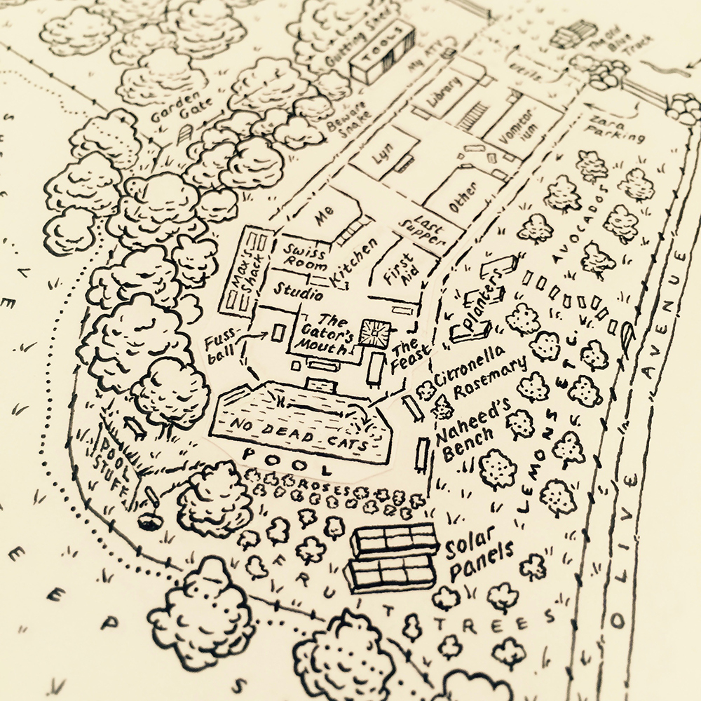 The House & Orchards (ink closeup)